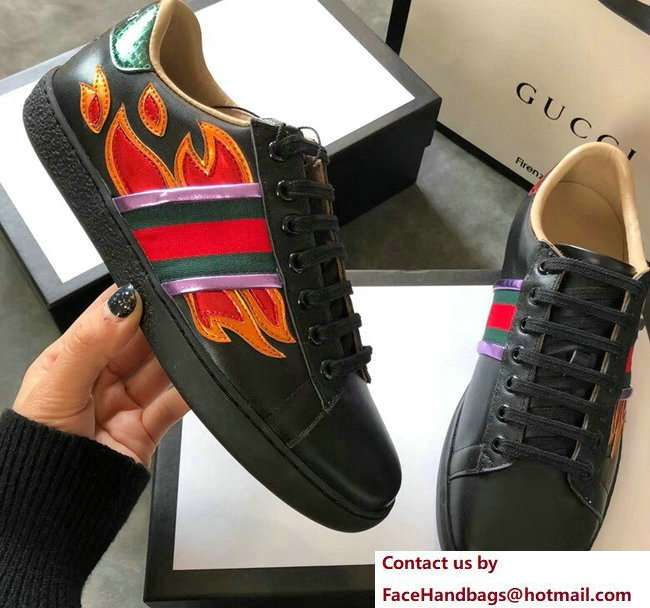 Gucci Ace Leather Low-Top Lovers Sneakers Web Flames Black 2018