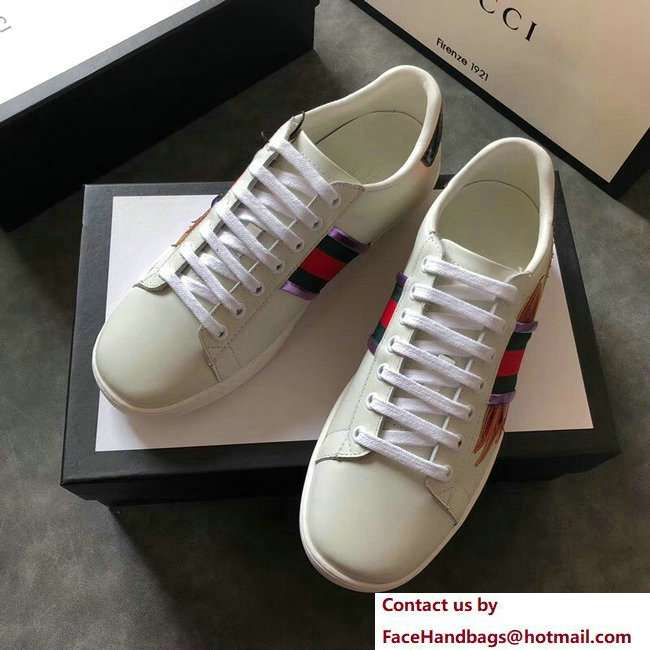 Gucci Ace Leather Low-Top Lovers Sneakers Web Flames Off White 2018