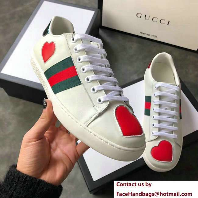 Gucci Ace Leather Low-Top Lovers Sneakers Web Heart Creamy 2018