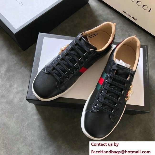 Gucci Ace Leather Low-Top Lovers Sneakers Web Pearl Studs Black 2018