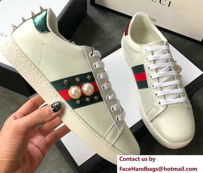 Gucci Ace Leather Low-Top Lovers Sneakers Web Pearl Studs Creamy 2018