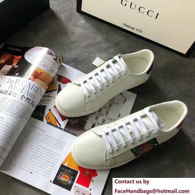 Gucci Ace Leather Low-Top Lovers Sneakers Web Sequin Embroidered Mouth Creamy 2018
