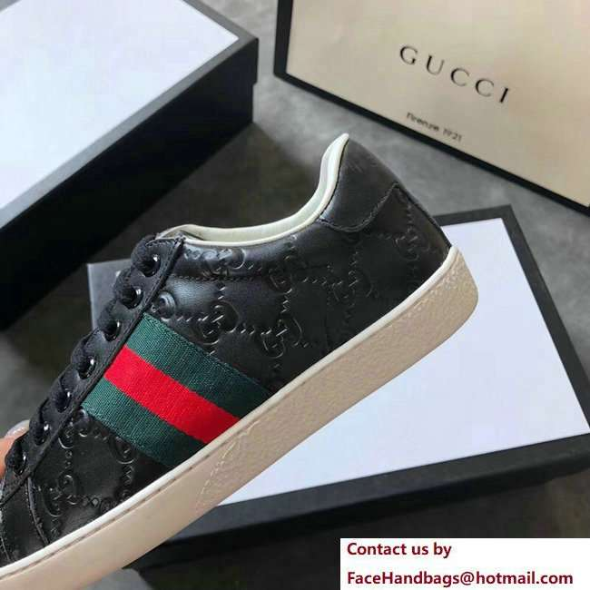 Gucci Ace Leather Low-Top Lovers Sneakers Web Signature Black 2018