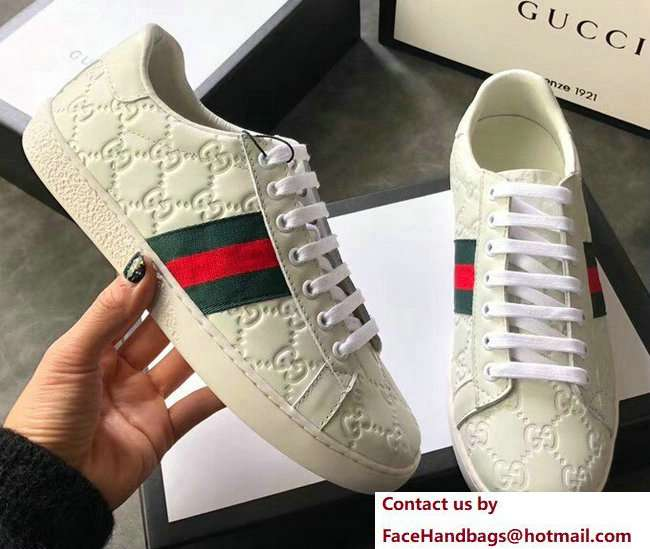 Gucci Ace Leather Low-Top Lovers Sneakers Web Signature Creamy 2018