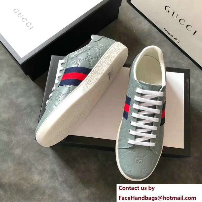 Gucci Ace Leather Low-Top Lovers Sneakers Web Signature Light Green 2018