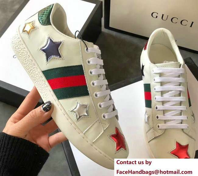 Gucci Ace Leather Low-Top Lovers Sneakers Web Star Creamy 2018
