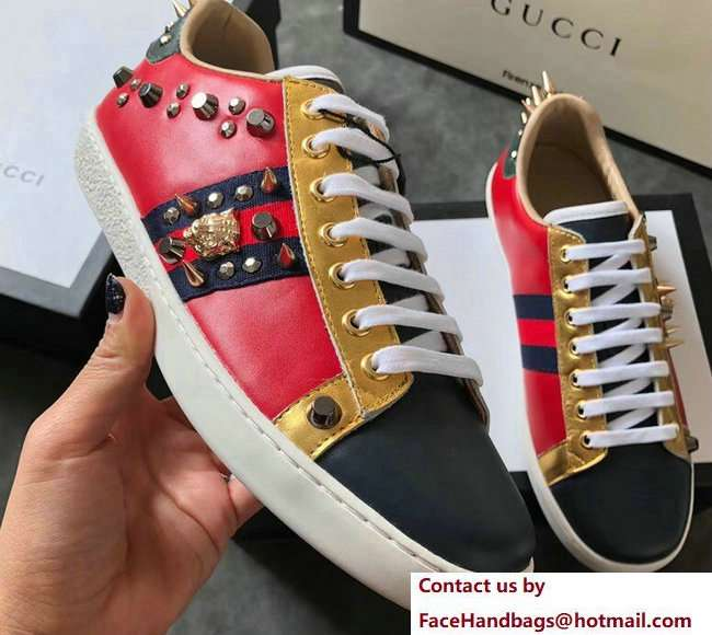 Gucci Ace Leather Low-Top Lovers Sneakers Web Studs And Metal Feline Red 2018