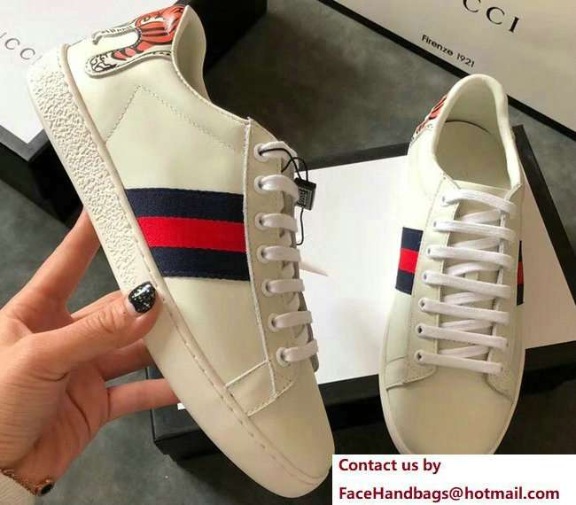 Gucci Ace Leather Low-Top Lovers Sneakers Web Tiger Creamy 2018