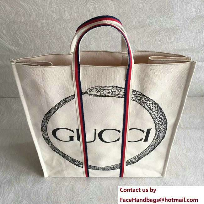 Gucci Cotton Canvas Ouroboros Print Tote Bag 484690 2018 - Click Image to Close