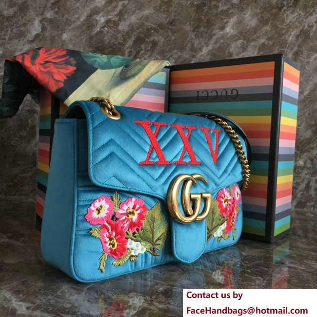 Gucci GG Marmont Embroidered Flower and XXV Velvet Chevron Medium Shoulder Bag 443496 Turquoise 2018