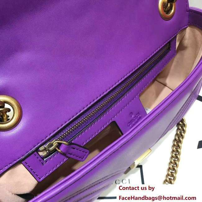 Gucci GG Marmont Matelasse Chevron Small Chain Shoulder Bag 443497 Purple 2018