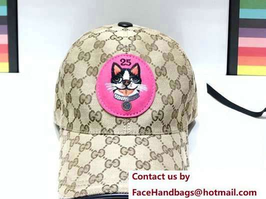 Gucci GG Supreme Boston Terriers Bosco Baseball Hat Fuchsia Patch 2018