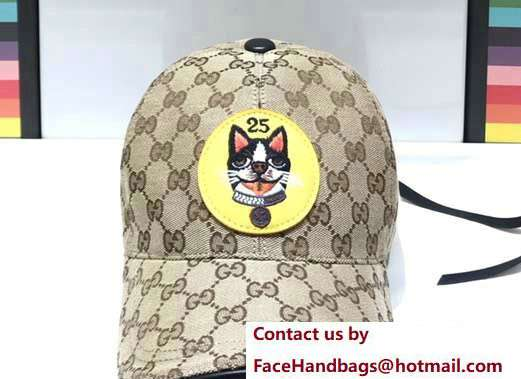 Gucci GG Supreme Boston Terriers Bosco Baseball Hat Yellow Patch 2018