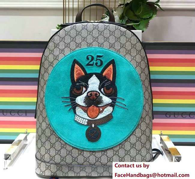 Gucci GG Supreme Boston Terriers Bosco Medium Backpack Bag 505372 Green Patch 2018