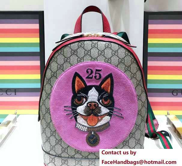 Gucci GG Supreme Boston Terriers Bosco Small Backpack Bag 495621 Pink Patch 2018