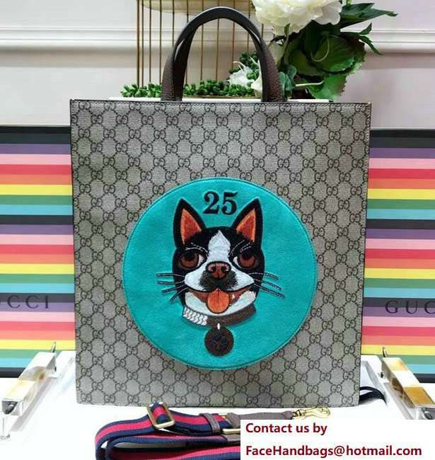 Gucci GG Supreme Boston Terriers Bosco Tote Bag 450950 Green Patch 2018