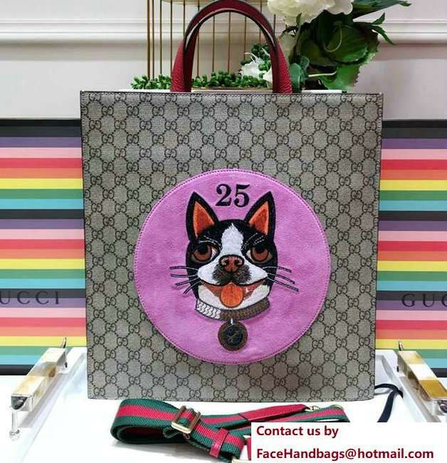Gucci GG Supreme Boston Terriers Bosco Tote Bag 450950 Pink Patch 2018