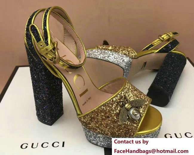 Gucci Glittered Heel Bee Sandals 475915 Gold 2018