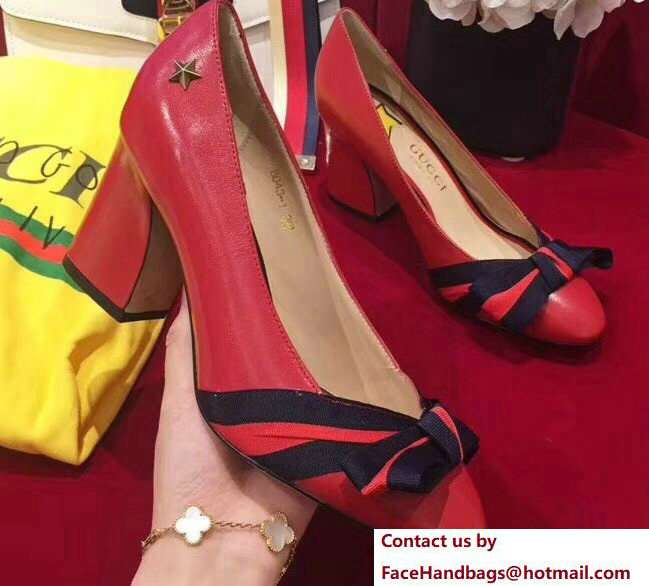 Gucci Heel 8cm Web Star Leather Point-toe Pumps 432044 Red 2018