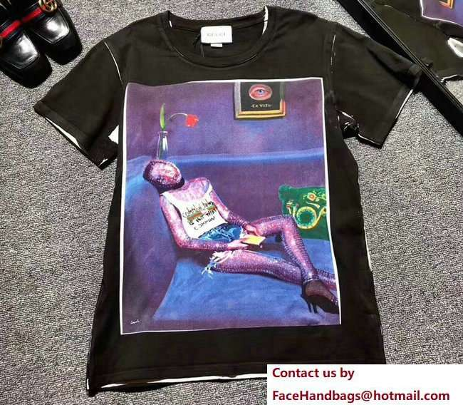 Gucci Ignasi Monreal Digital Painting Print T-shirt 492347 Black 2018