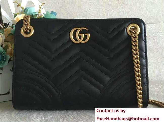 Gucci Ophidia GG Marmont Matelasse Chevron Chain Shoulder Bag 505033 Black 2018