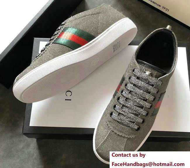 Gucci Web Ace Glitter Leather Low-Top Women's Sneakers 419544 Studs Gray 2018