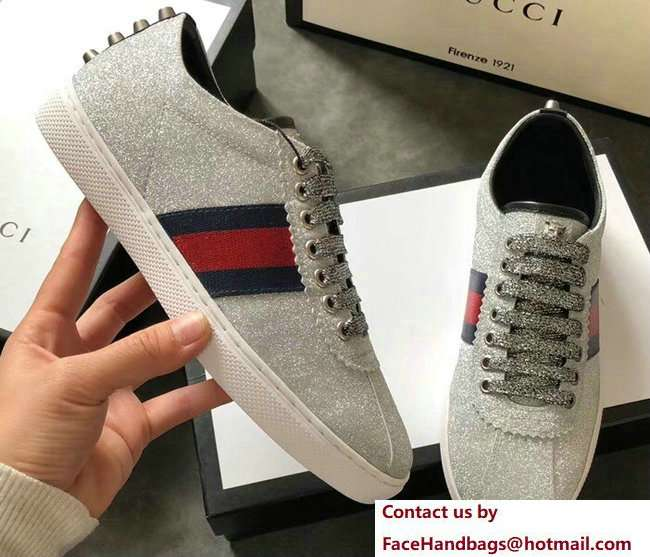 Gucci Web Ace Glitter Leather Low-Top Women's Sneakers 419544 Studs Silver 2018