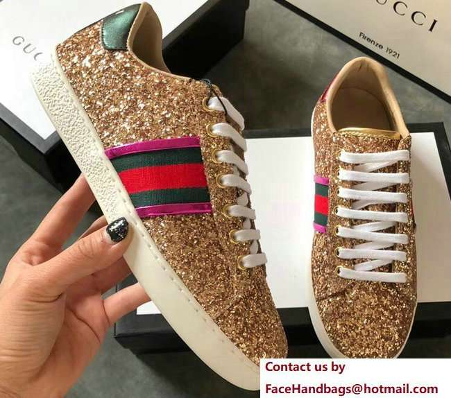 Gucci Web Ace Glitter Leather Low-Top Women's Sneakers 475213 Gold 2018