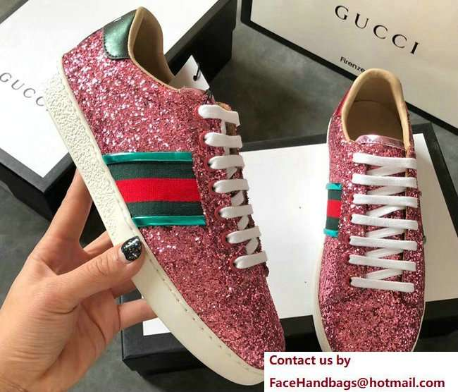 Gucci Web Ace Glitter Leather Low-Top Women's Sneakers 475213 Pink 2018