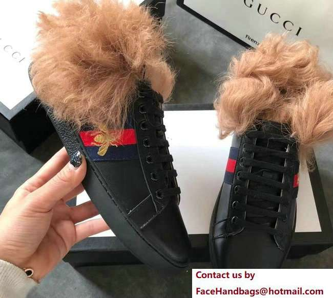 Gucci Web Embroidered Bee Ace Leather Low-Top Lovers Sneakers Black with Wool 2018