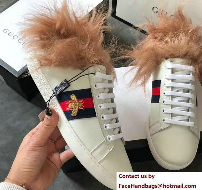 Gucci Web Embroidered Bee Ace Leather Low-Top Lovers Sneakers Creamy with Wool 2018