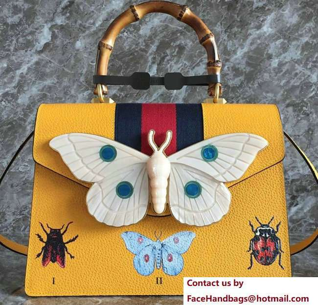 Gucci Web Insect Leather Medium Top Handle Bag 488691 Yellow 2018