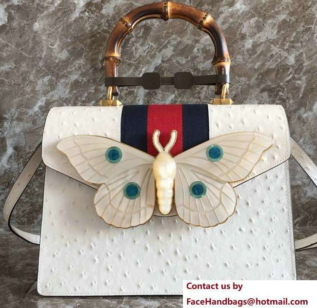 Gucci Web Moth Ostrich Pattern Medium Top Handle Bag 488691 White 2018