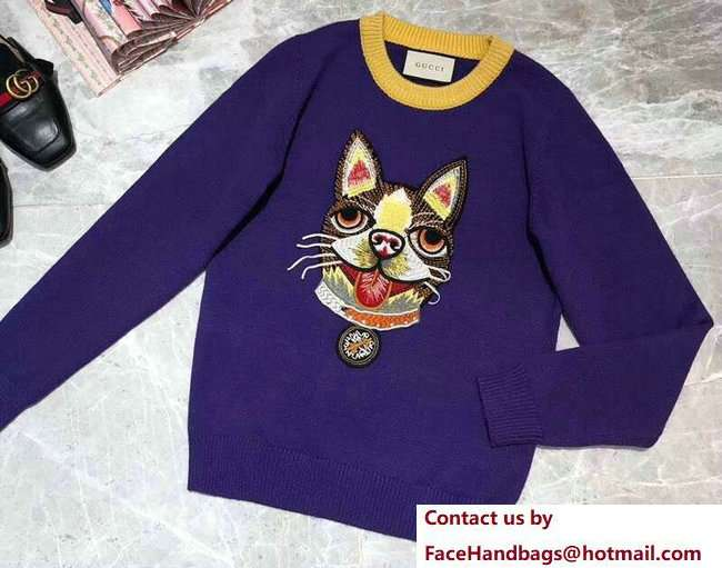 Gucci Wool Sweater with Boston Terrier Orso 503897 Blue 2018