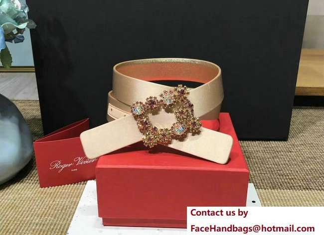 RV 3CM belt champagne gold with crystals buckle