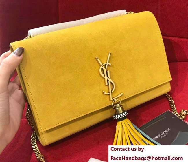 Saint Laurent Kate Chain And Tassel Bag In Suede 501518 Yellow 2018