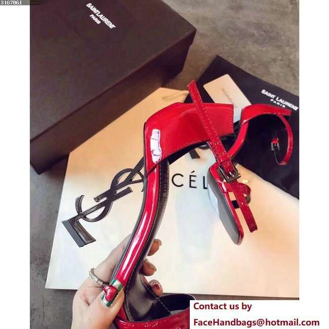 Saint Laurent Opyum 110 Sandals in Red Patent Leather and Black Metal 500250 2018