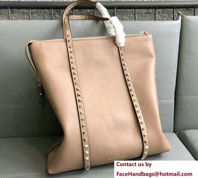 Valentino Rockstud Shopping Tote Bag 0091 Nude 2018