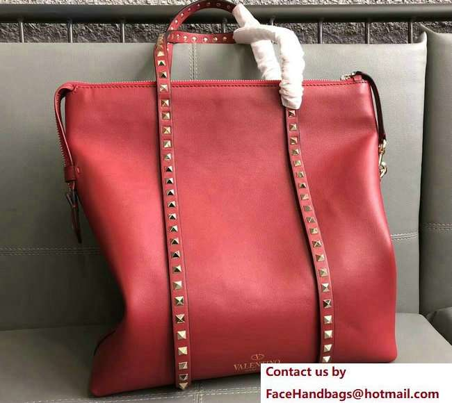 Valentino Rockstud Shopping Tote Bag 0091 Red 2018