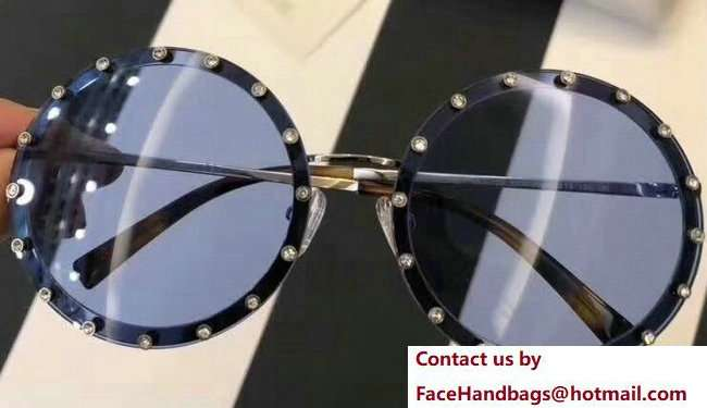 Valentino Round Shaped Metal Sunglasses With Stud-Shaped Crystals 02 2018