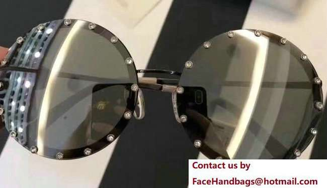 Valentino Round Shaped Metal Sunglasses With Stud-Shaped Crystals 03 2018