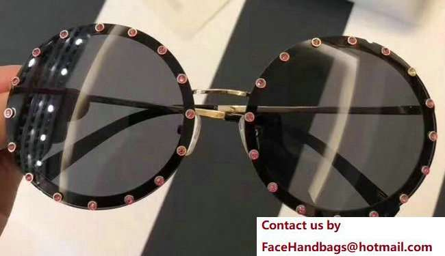 Valentino Round Shaped Metal Sunglasses With Stud-Shaped Crystals 04 2018