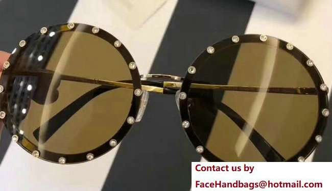 Valentino Round Shaped Metal Sunglasses With Stud-Shaped Crystals 05 2018